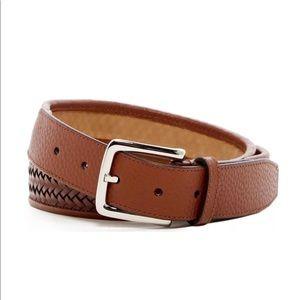 Cole Haan woven leather belt Sz 32 tan black